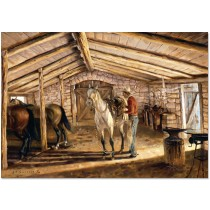 Saddling in the Stone Barn