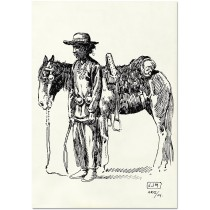 Vaquero Standing By Horse