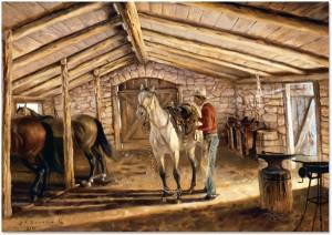 Saddling in the Stone Barn